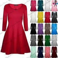 Avec encolure en v et fines bretelles. Femmes Uni Manches Longues Evase Franki Fete Swing Mini Robe Patineuse Ebay