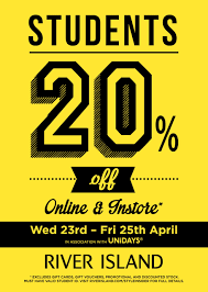 westquay % student discount at river island 20% discount at river island