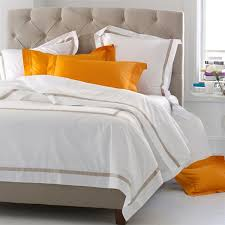 matouk lowell white or ivory 600 thread count egyptian cotton percale sheeting embellished with a
