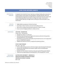 Gallery Of Cook Resume Examples