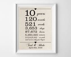 10 years to her cotton gift print 10th anniversary gifts