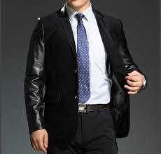black leather sleeves stylish velvet blazer