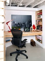 basement home office. inspiration for a modern gray floor basement remodel in dc metro home office