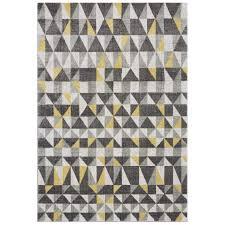 geometric rug pattern. Modern Soft Grey Yellow Geometric Rug - Nova Pattern
