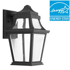 progress lighting endorse collection 1 light outdoor black led wall lantern p6056 3130k9 the home depot