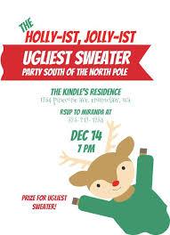 Christmas Gathering Invitation Wordings Ugly Sweater Invitation