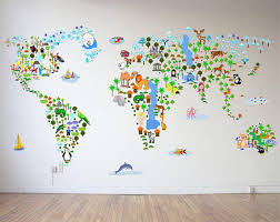 cultural world map wall decal