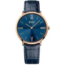 men s designer watches creative watch co hugo boss men s jackson rose gold blue leather stylish strap watch