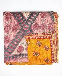 Quilted Bedding | Fair Trade and Eco-Friendly | Anchal Project & Queen Kantha Quilt - Pink and Grey Dandelion | Anchal Project Adamdwight.com