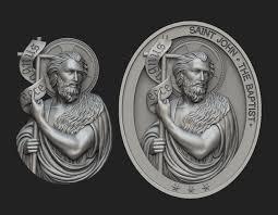 saint john the baptist pendant and medallion 3d print model