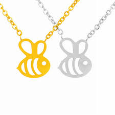 cute bee necklace fine jewelry silver gold color hollow honey