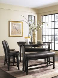 Wrap Around Bench Kitchen Table Dining Room Black Unique Table With Leather Bar Stools Also