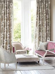 ... Living Room Window Treatment Ideas Floral Pattern Brown Curtains Red  And White Lines Pattern Sofa White ...