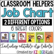Classroom Helpers Chart Classroom Helpers Job Chart Editable Clip Labels