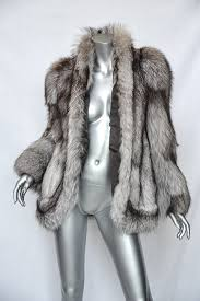 sakowitz brown white grey genuine fox fur coat jacket m l glamourous life