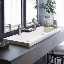 sinks undermount trough sink bathroom sink double faucet and mirror with mini plant in vas