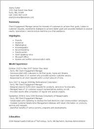 Resume Templates: Client Engagement Manager