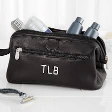 personalized toiletry bag black leather 10728