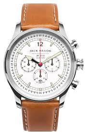 jack mason nautical chronograph leather strap watch 42mm nordstrom
