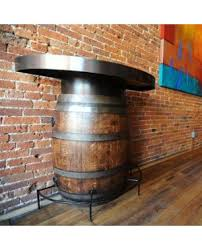 wood barrel furniture. Half Barrel Bistro Table With Metal Top Wood Furniture