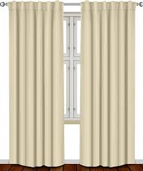 com thermal insulated blackout curtains beige 2 panels 52 inch wide by 84 inch long each panel 7 back loops per panel 2 tie back included by
