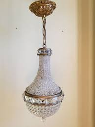 antique french empire style bronze crystal beaded basket chandelier pendant