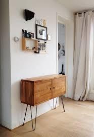 mid century credenza danish modern side table european beechwood side drawer retro sideboard modern cabinet hairpin leg furniture