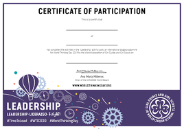 World Thinking Day 2019 Certificate Of Participation