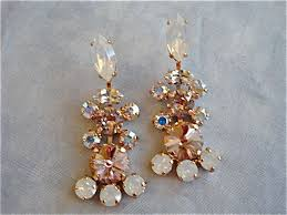 vintage rose opal crystal chandelier earrings rose gold images of