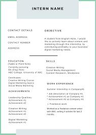 Resume Template For Internship 014 Intern Name Template Ideas Resume Templates For Rare