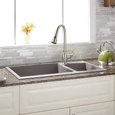 Granite Composite Kitchen Sink 34 Arvel 70 30 Offset Double Bowl Drop In Granite Composite Sink
