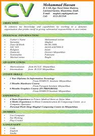 Student Curriculum Vitae Samples Undergraduate Cv Example Sample