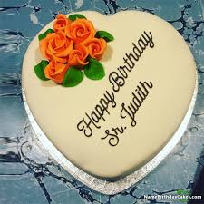 The Name Sr Judith Is Generated On Create Bday Cake With Photo Of