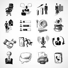 Office Tea Chart Office Business Sketch Icons Set With Tea Cup Handshake