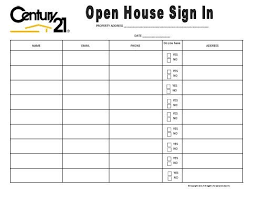 Open House Sign In Open House Sign In Sheet Yellow Real Estate Forms Open