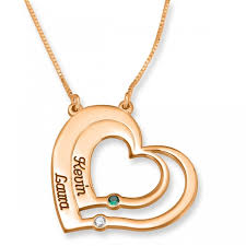 24k rose gold plated double thickness echoing hearts two names and birthstones necklace birthstone jewelry name factory namefactory