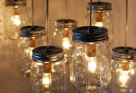 ... Wonderful Image Of Interior Lighting Decoration Using Canning Jar Lamp  : Fabulous Image Of Decorative Creative ...