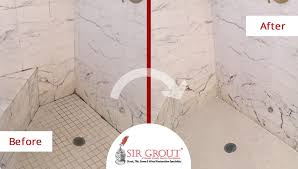 before and after picture of a marble stone shower cleaning job in gladwyne pennsylvania