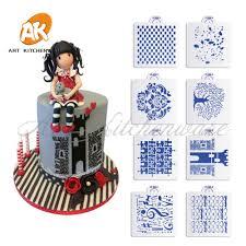 New 8pcsset Castle Cake Stencil Set Design Plastic Template For