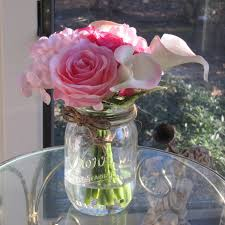 Beautiful Silk Flower Arrangement -pink rose ,pink calla lily and pink  hydrangea in Glass mason jar with Faux Water