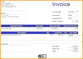 Excel Invoice Template 2010 Basic Invoice Template Excel Invoice