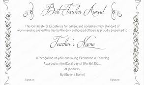 Best Performance Award Certificate Teacher Certificate Template Best Teaching Performance Award