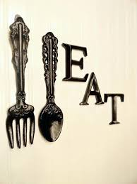 black kitchen wall decor large fork spoon by and knife uk