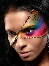 zipper themed makeup for this look uses a real zipper fastened around your head