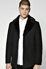 men s fashion coats fur collar coats black fur collar coats boohoo smart faux fur collar pea coat