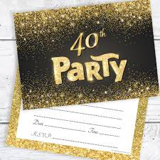40th Birthday Invitations Black And Gold Effect 40th Birthday Party Invitations Ready To Write With Envelopes Pack 10