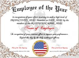 Employee Of The Year Certificate Template Free Employee Of The Year Free Certificate Templates For Staff