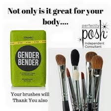 perfectly posh gender bender bath chunk is great for cleaning your makeup brushes as well as detoxing your skin