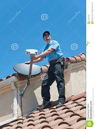 satellite installer on roof royalty free stock images image dish network installers