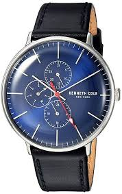 leather band blue dial multi function watch kc15189001 loading zoom